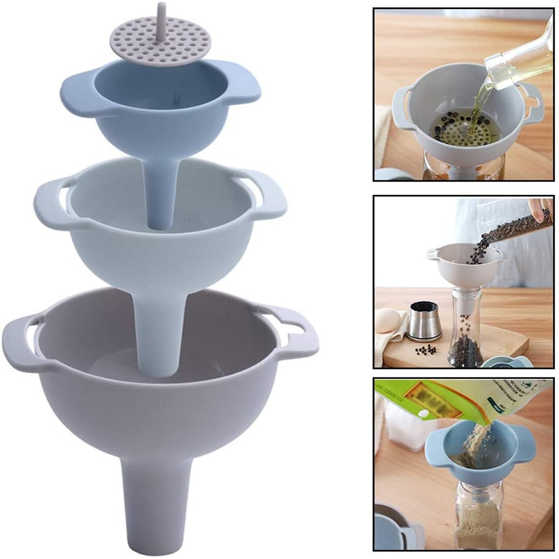Filter Oil Kitchen Tools Household Filter Oil Can Household Filter Multi Function Funnel Set Oil Hopper Filter Oil Can Sub Packaging Plastic Funnel Kitchen Tools
