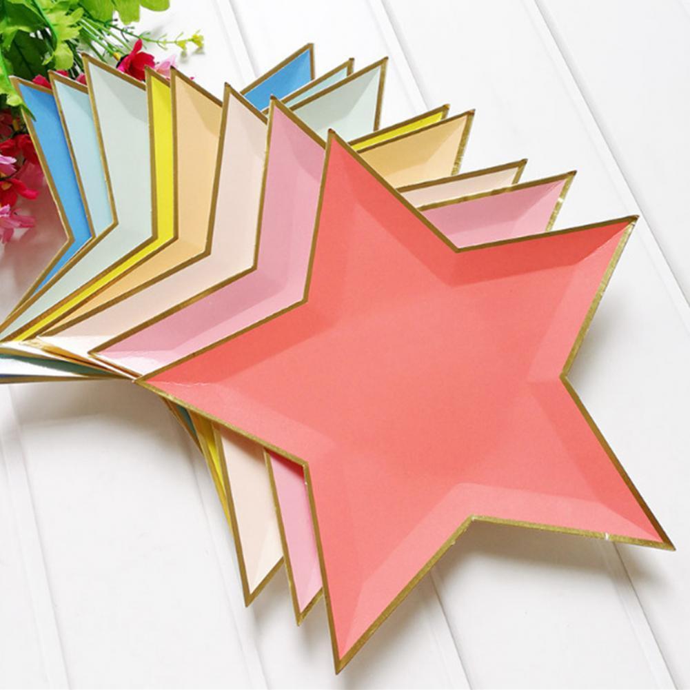 Disposable Paper Party Plates Paper Plate Star Plate Disposable Paper Plate Star Shape Party Plates Bright Color Tableware Wedding Picnic Birthday Partyware