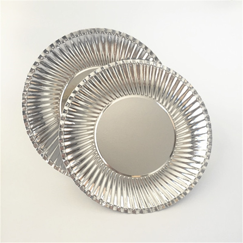 Paper Plate Foil Tray Large Plate Disposable Plate Silver Disposable Paper Plate Foil Tray Baby Shower Bridal Shower Wedding Decor Large Plate Party Tableware