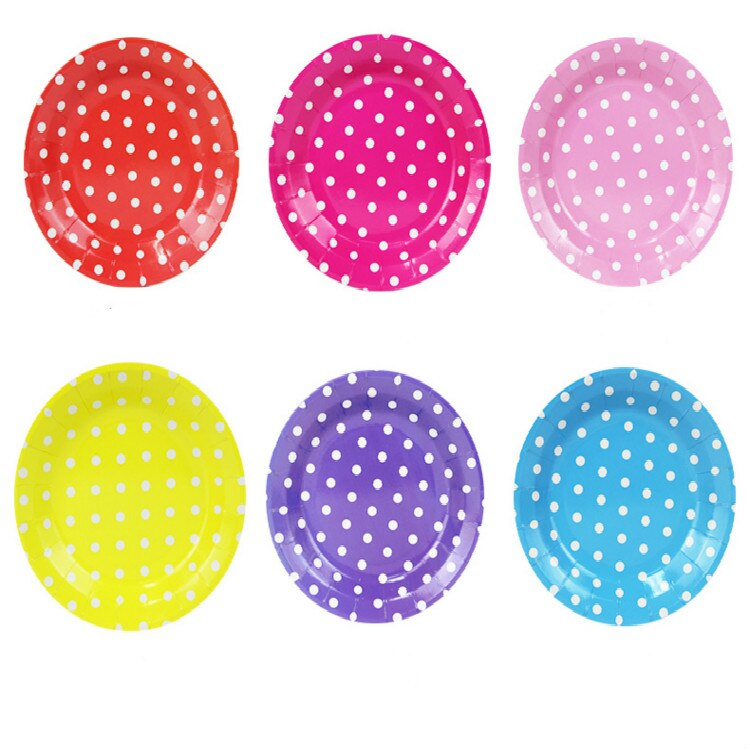 Paper Plates Party Plates Pink Plates Party Dishes Birthday Party Dishes Kids Favors Decoration Pink Tableware Baby Shower Blue Red Polka Dot Theme Supplies