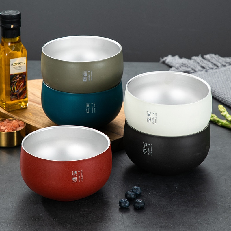 Ramen Bowl Ramen Noodle Bowl Bowl of Ramen Naruto Bowl Creative Stainless Steel Japanese Ramen Bowl Portable Heat Insulated Instant Noodle Container