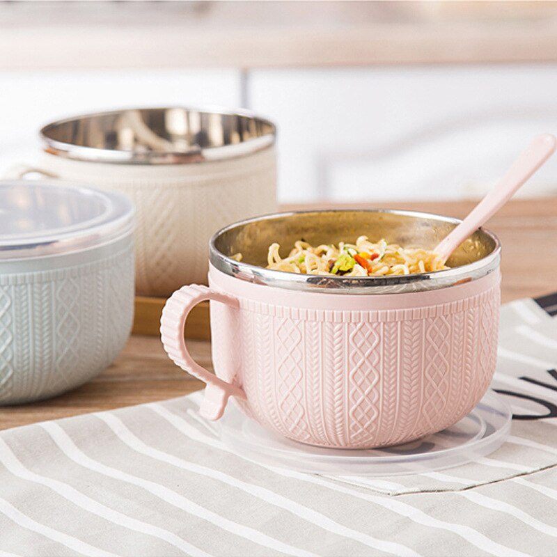 Steel Bowl Stainless Steel Bowl Stainless Steel Mixing Bowl Metal Bowl Stainless Steel Bowl with Lid Spoon for Instant Noodles Rice Household Utensils Bowls