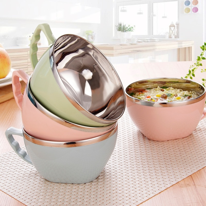 Steel Bowl Metal Bowl Stainless Steel Bowl Metal Mixing Bowls Stainless Steel Noodle Bowl With Handle Food Container Rice Bowl Soup Bowls Dinnerware Bowl