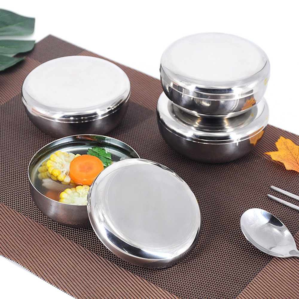 Steel Bowls Stainless Steel Bowl Metal Bowl Metal Mixing Bols Korean Stainless Steel Bowls Anti Scalding Child Small Bowl Korean Cuisine Bowl Tool With Lid
